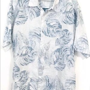 Cubavera Men's Linen Shirt White Blue Leaf Print